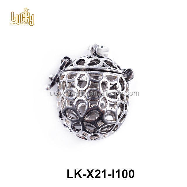 Wholesale super quality jewelry findings hollow out antique color copper alloy diffuser locket