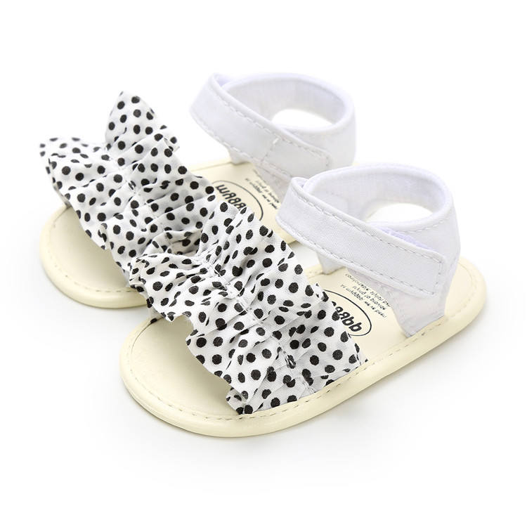 Hot Newborn Baby Girls Sandals Summer Footwear Infant Shoes Bow Dot Lattice Pu Soft Sole Baby Shoes Beach Sandals