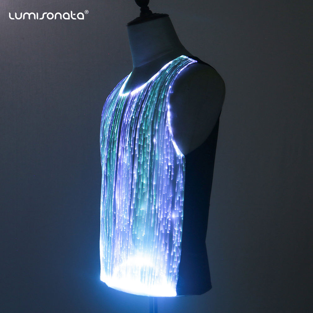 Wholesale Fashion Men Top Led Tshirt Glowing T-Shirt flashing EL Music shirts
