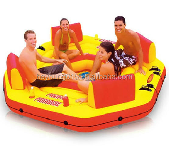Intex Pacific Paradise Relaxation Station Water Lounge 4-Person River Tube Raft pool toys