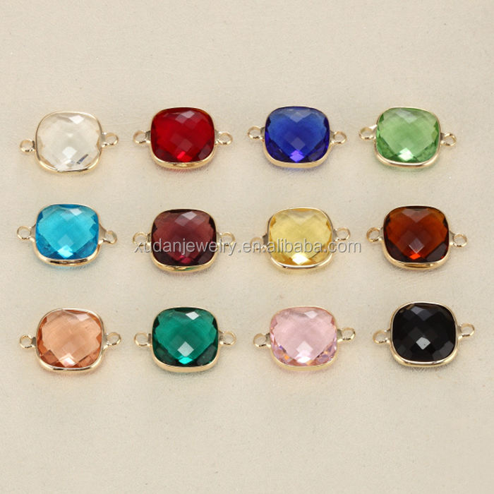 Colorful Round Crystal Birthday Stones Lucky Gold 12MM Birthstone Charm Pendant