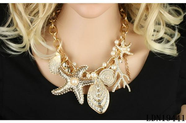 Summer Beach Sea Jewelry Gold Shell Starfish Peal Necklace