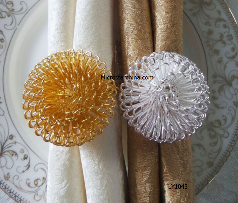 2015 hot selling in stock gold silver plated napkin rings