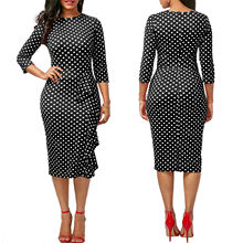 Wholesale Lady Fashion Western Plus Size White and Black Office Dress