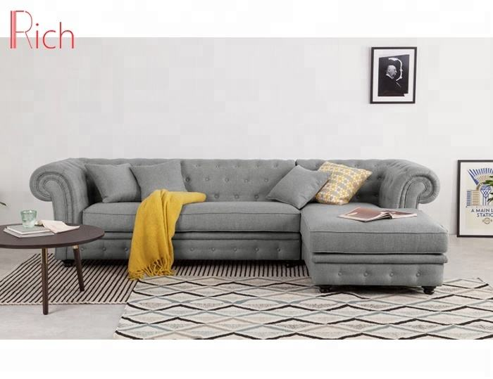 European Style Grey Chesterfield Corner Sofa Set Fabric Sectional Sofa Button Tufted L Shape Corner Sofa For Living Room