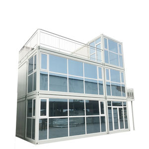 Snelle levering luxe geprefabriceerde flat fold modulaire container huis prefab Glas kamp huis