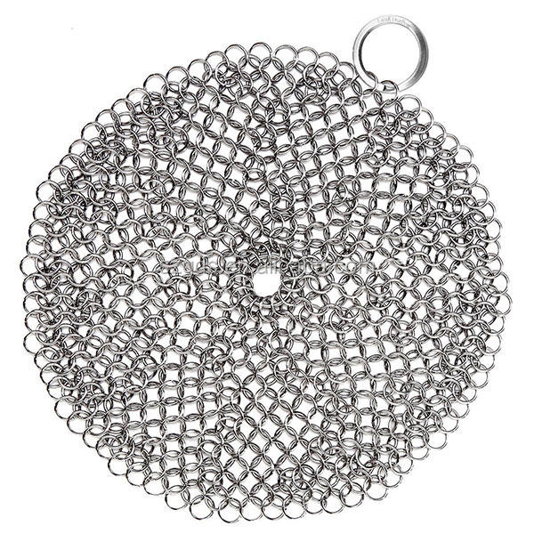 Gietijzeren Cleaner-Premium 316L, 8-inch Diameter Grote Rvs <span class=keywords><strong>Chainmail</strong></span> <span class=keywords><strong>Scrubber</strong></span>