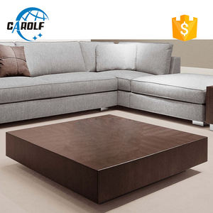 Contemporary square low profile oak wooden coffee table