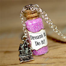 Dream It, Do It glass Bottle Necklace with a Castle Charm 60 Anniversary Inspired necklace
