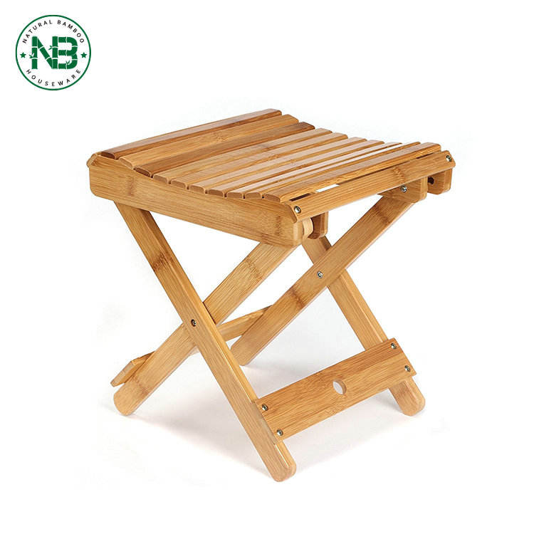 Organic bamboo portable folding foot step stool