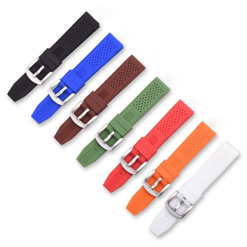 16mm 18mm 20mm 22mm 24mm black white brown color soft rubber silicone watchband fashion watch band strap