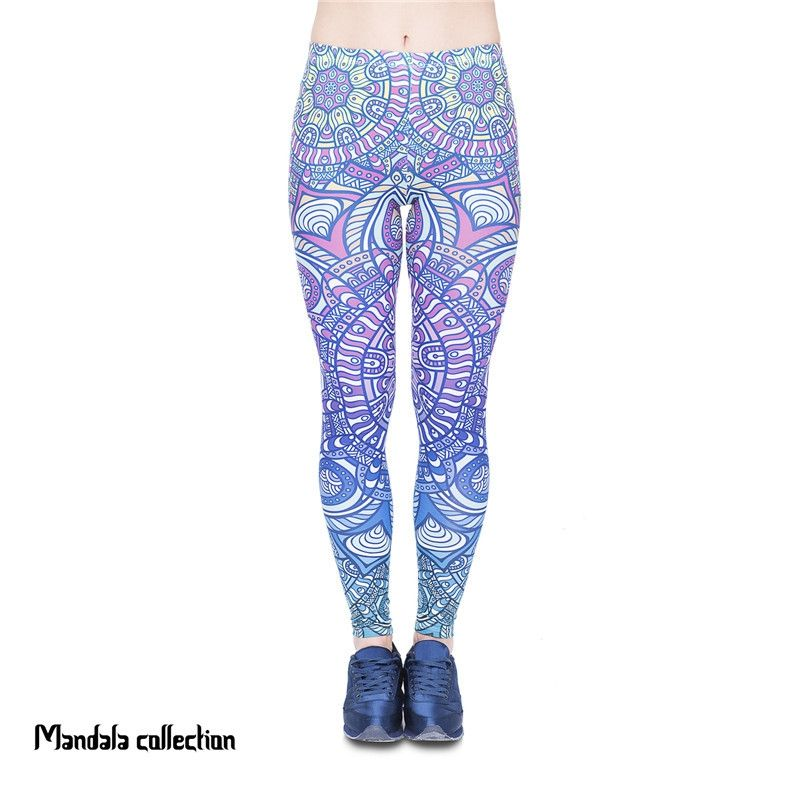 Online Shopping Women Legging Mandala Blue Ombre Printing Fashion Bottoms Sexy High Waist Fitness Leggings Stretch Pants for Wom