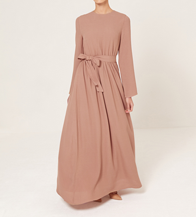China Product Muslim Factory Belted Maxi Dress In Dusty Peach