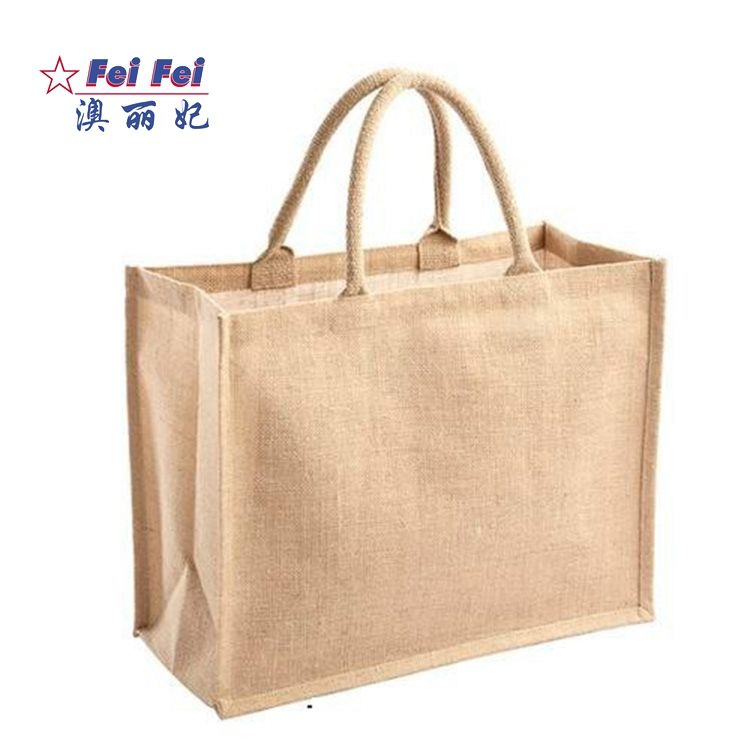 Promozione del commercio all'ingrosso di Lino Canapa Iuta Dell'assia Grocery Shopping Tela Beach Tote Bag Con Manico