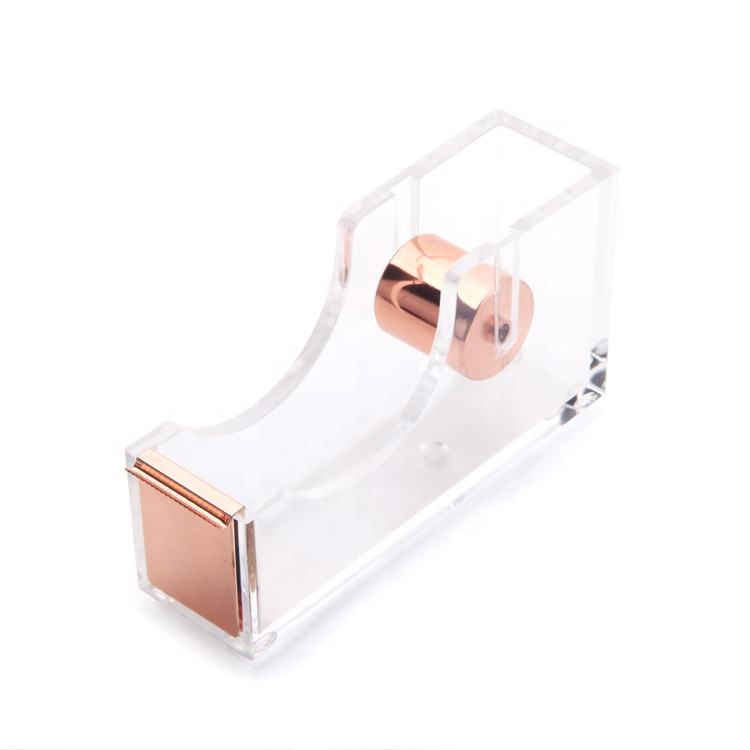 Stylish office school rose gold stationery acrylic tape dispenser small size