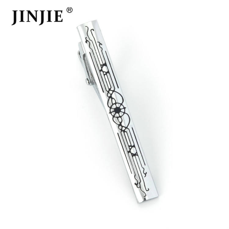 Wholesale customsized laser engraved logo silver tie bar clip for men