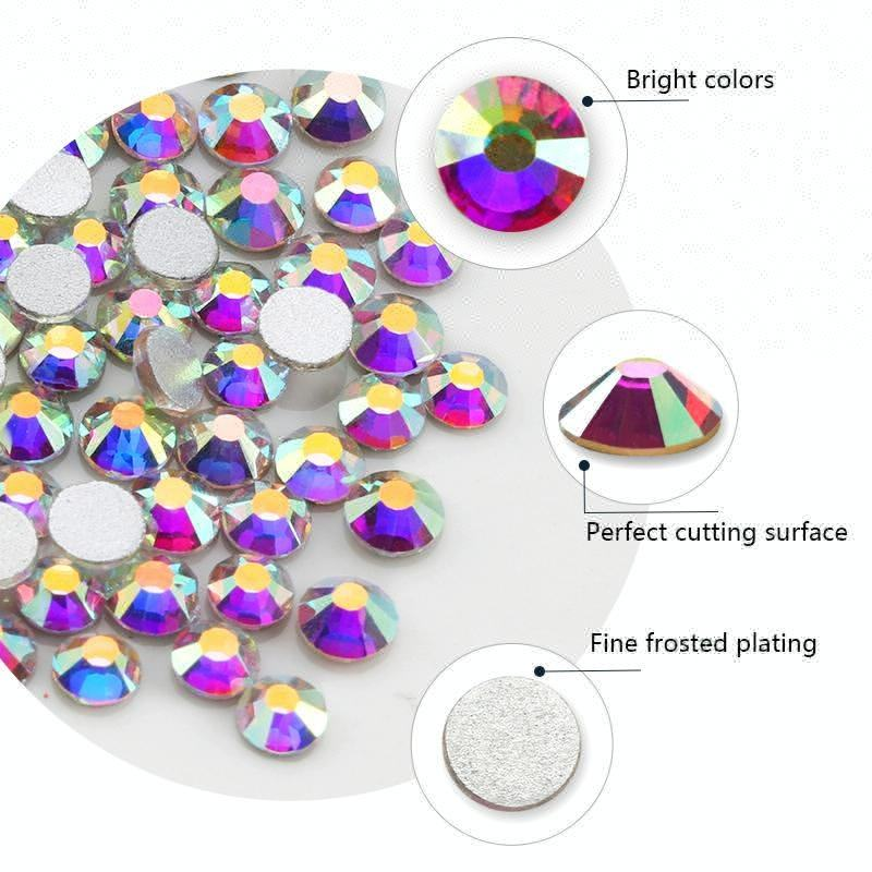 Amazon Yiwu Pujiang Crystal AB 3d Nail Art Shiny Glass Flatback Stones Designs For 3d Nails Art Decorations