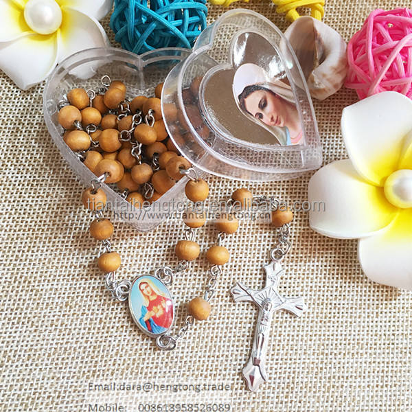 7mm bead religious rose scent rosary of virgin mary rosary with perfume and heart box