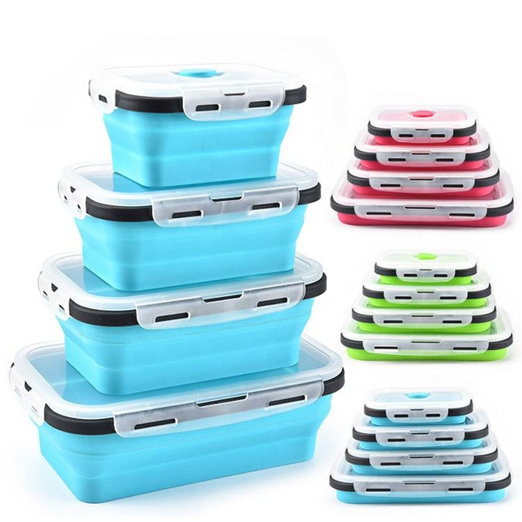 Hot Selling 350ml 500ml 800ml 1200ml 1600ml Collapsible Silicone Lunch Boxes Microwave Silicone Food Storage Container