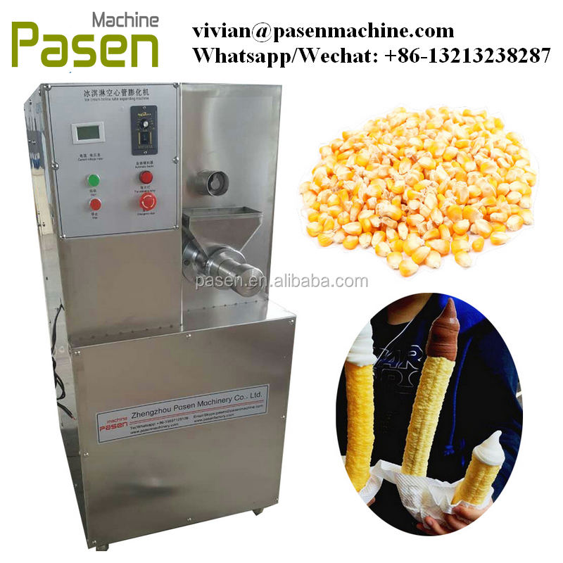 America Pop Crutch Ice Cream Puffed Machine Corn Puffing Machine hollow corn tube puffed machine