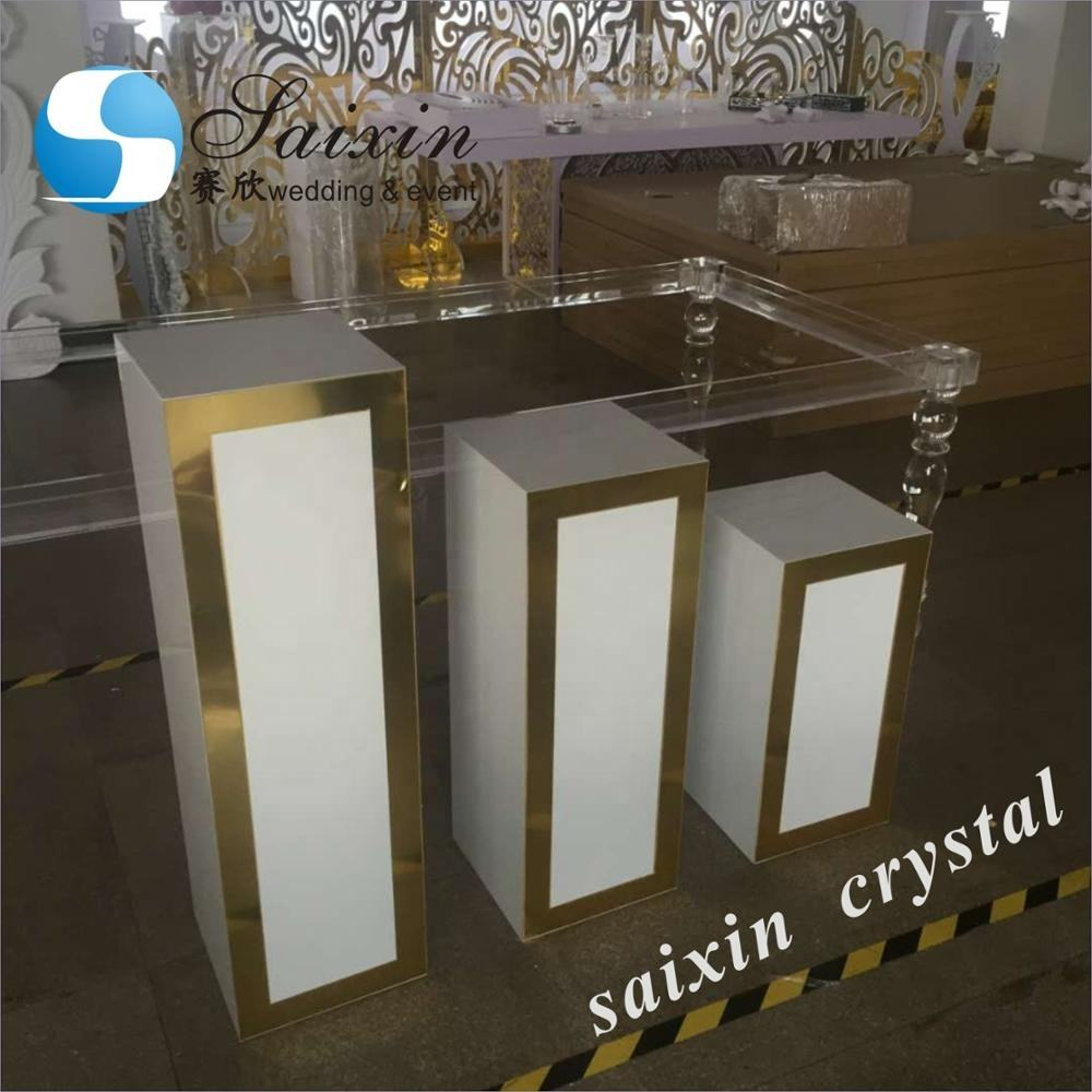 ZT-199W-G wedding decoration white acrylic with gold design pedestal columns