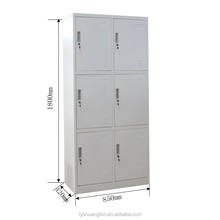 Factory hot sale cheap locker modern steel 6 door clothes closet metal clothes storage cabinet