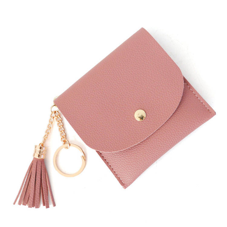New 2019 smallest purse card holder mini key rings pure color coin pocket wallet girls with tassel