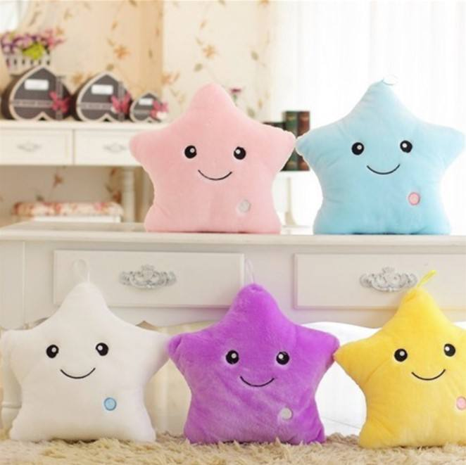 2019 colorful luminous five-point star music pillow luminous birthday gift plush toys