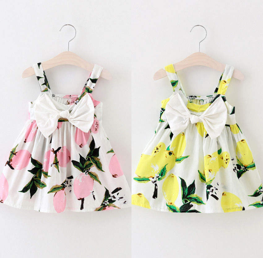 GG144 high summer kids girl sleeveless floral printing baby dresses
