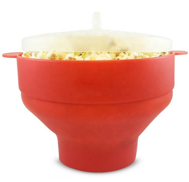 Easy to use healthy choice hot air collapsible microwave popcorn bowl silicone microwave popcorn makers heat resistant popcorn p