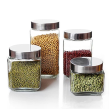Glass Canister And Spice Jar Set 8 Piece Kitchen Storage Stainless Jars Lids New