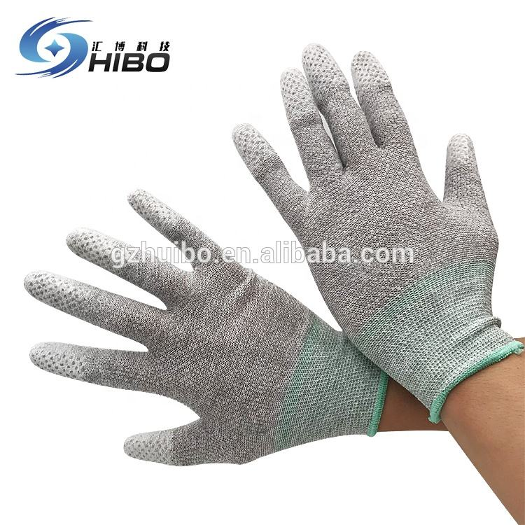 ESD White PU Coated Palm Fit Nylon Gloves