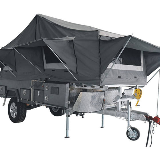 Off-road Rear Folding Camper Trailer with Tent and Bed