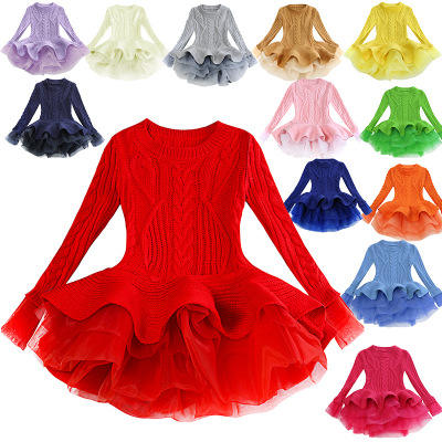 2019 organza long sleeve princess tutu sweater baby girls party dresses for Children's autumn/winter