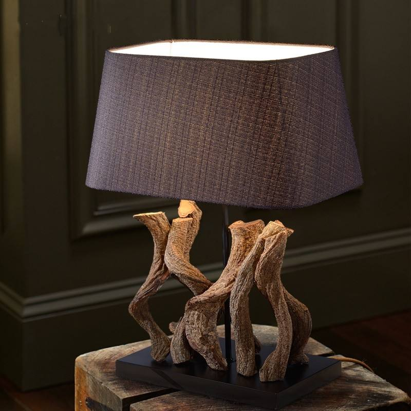 Antique Design Hotel Project Restaurant Decorative Nature Wood Table Lamp With Linen Lamp Shade