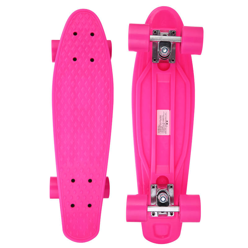 Customized professional 22 inch PP skateboard with flashing wheels high quality
