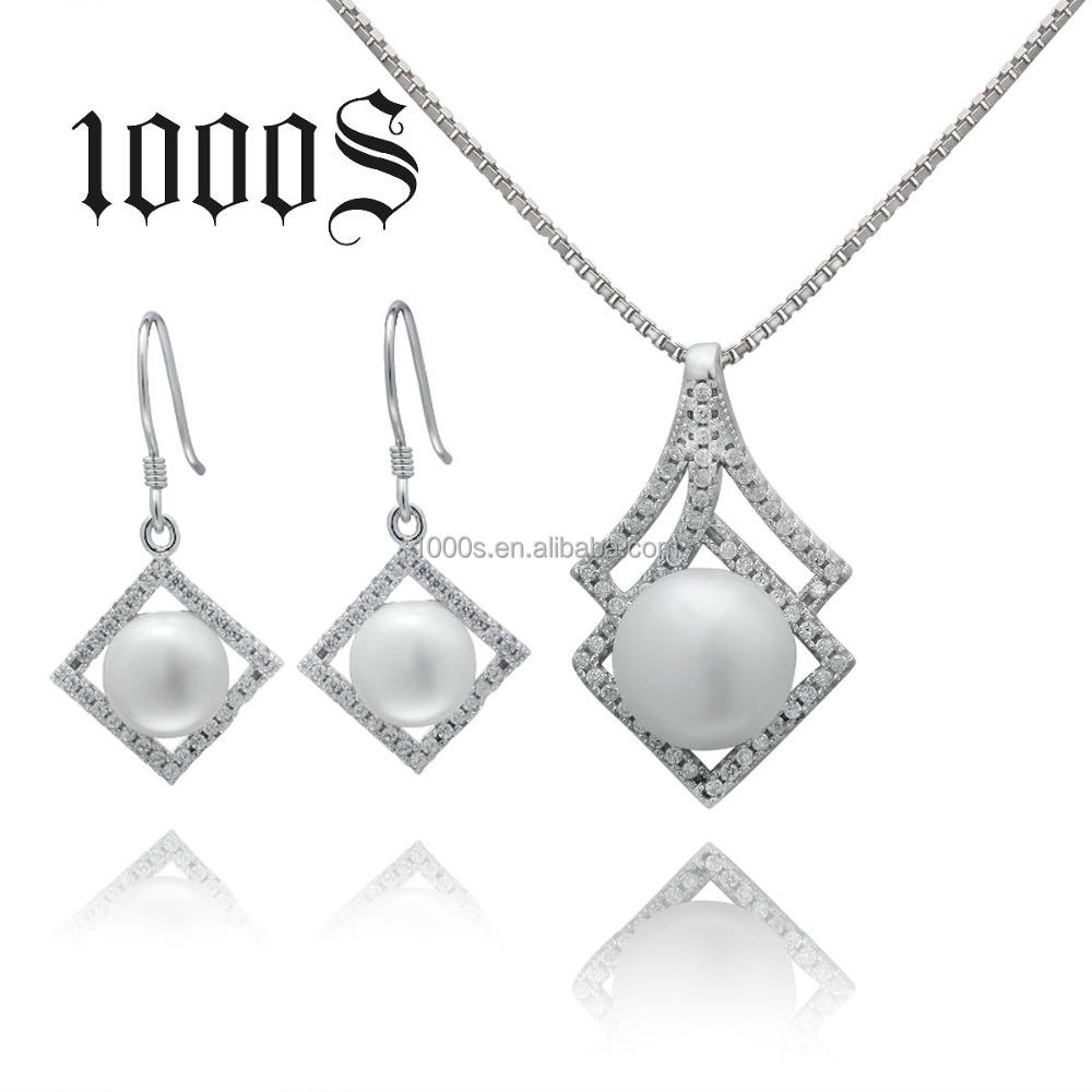 Wholesale Custom Made 925 Sterling Silver Fresh Water Pearl Jewelry Set
