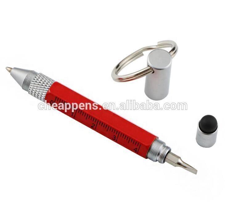 5 in 1 mini tool metal pen with ring,easy to carry