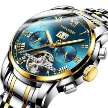 TEVISE Watch 9005 Luxury Tourbillon Mens Automatic Mechanical Watch Stainless Steel Calendar Watches Men Wrist Relogio Masculino
