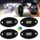 Top level rgbw rock light kit wholesale working rgbw 4x4 off road boat waterproof 24 led rock lights