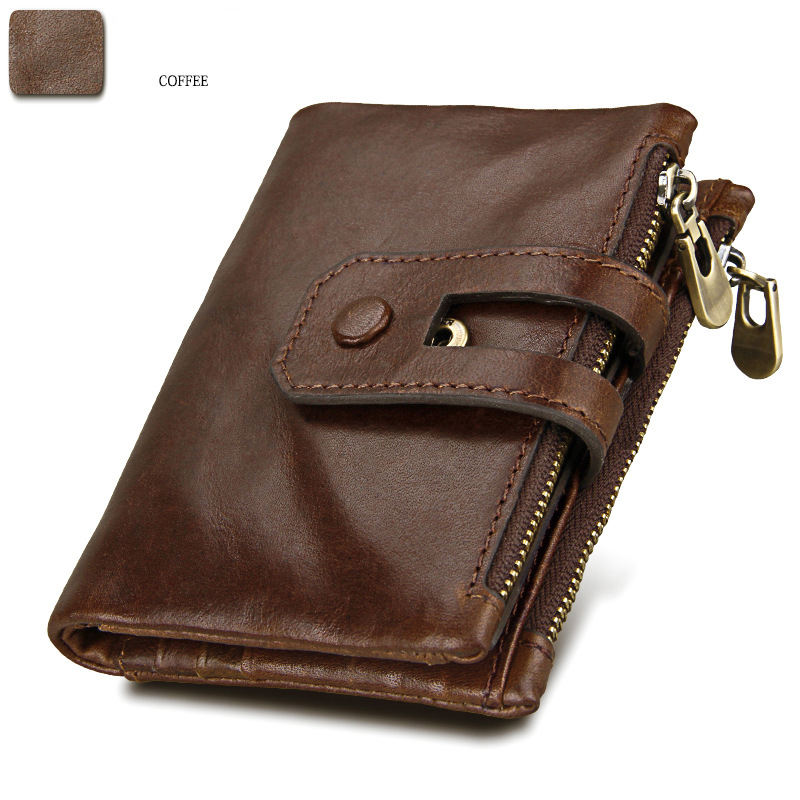 Useful Men Purse Genuine Leather Short Anti-theft Double Zip Wallet