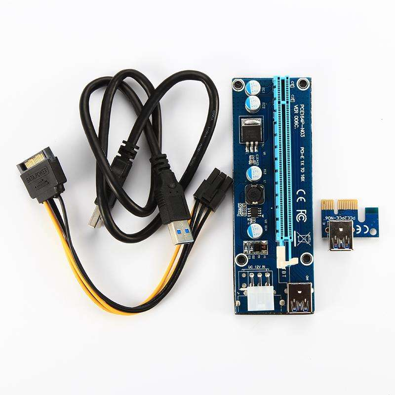 Best quality PCI-E 006 007s 008s 008c 009s bitcoin farm pcie 16x riser with 60cm USB3.0 cable