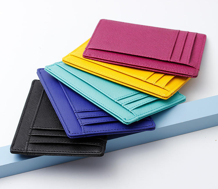 2018 wholesale saffiano leather multi color leather credit card holder