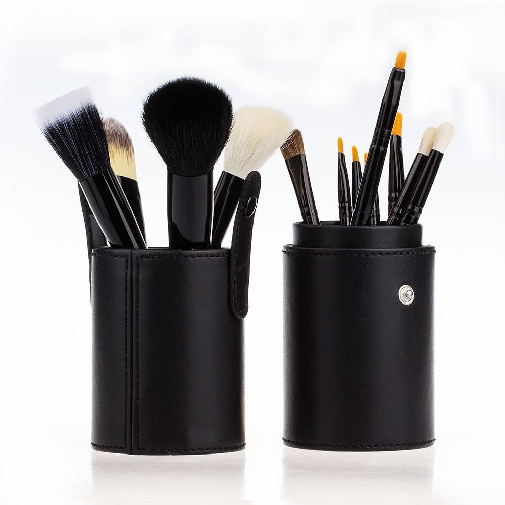 12 개 Goat Hair Make up Brush Set 와 컵 Holder