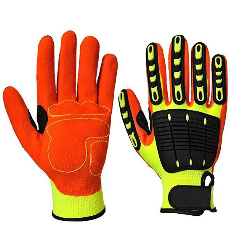 Sandy Nitrile Oilfield Cut Resistant Anti Vibration Gloves Guantes TPR Anti Impact Gloves Mechanic Gloves