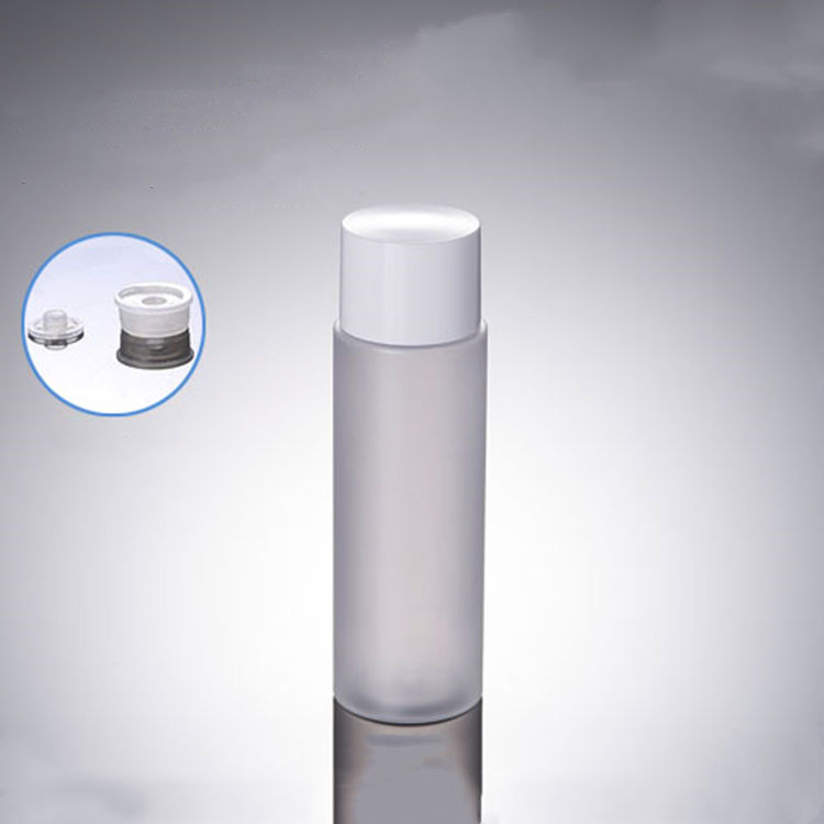 100ml Clear Frosted PET Lotion Container Flip Top Cap Toner Bottle Cosmetic Liquid Soap Plastic Bottles with White lid