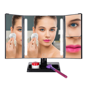 Tri Folded Touch Screen LED Makeup Mirror With Foldable Stand