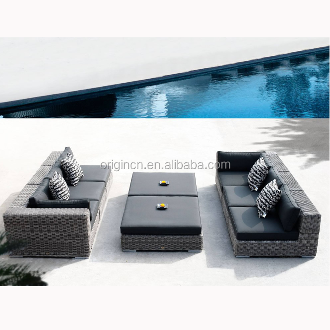 American style natural color round wicker luxury outdoor sofa set import rattan furniture
