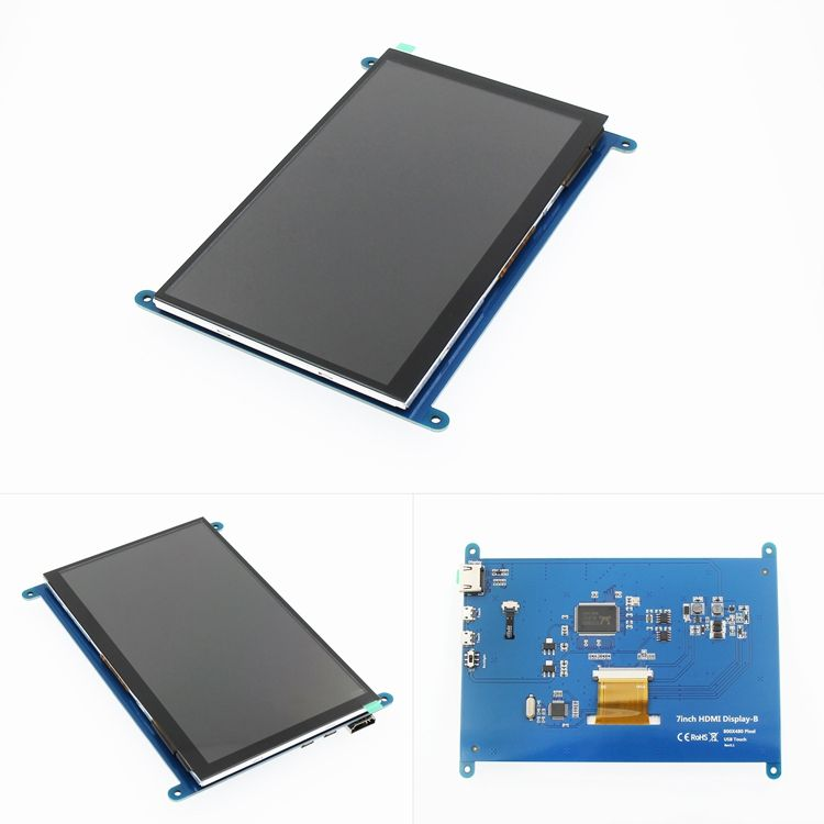 "7"" 800x480 LCD Display with capacitive touch and 5V/2A mini-USB power supply compatible with Raspberry Pi and ARM and PC"
