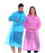 Custom Logo Printed Recyclable Adult Waterproof Hooded EVA Plastic Raincoat jacket Unisex Cheap Non Disposable Poncho Raincoat